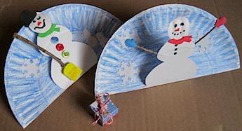& Paper Plate Pop Up Snowman