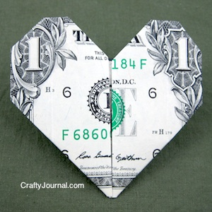 Crafty Journal - Dollar Bill Heart