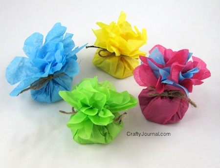 Tissue paper flower favors DIY tutorial from Crafty Journal