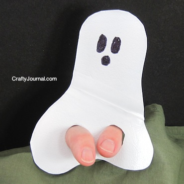 Crafty Journal - Ghost Finger Puppet from a Milk Jug