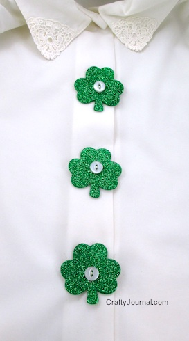 St. Patrick's Day Three leaf Clover Button Covers