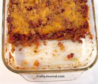 Mexican Tortilla Chip Casserole is gluten free.  By Crafty Journal.