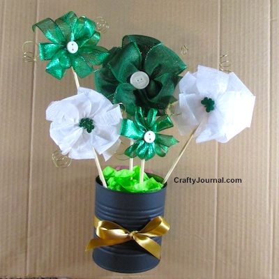 St. Patrick's Day Ribbon Bouquet by Crafty Journal