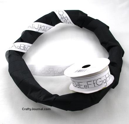 Use Alphabet Strip Ribbon to Make an ABC Wreath. by Crafty Journal