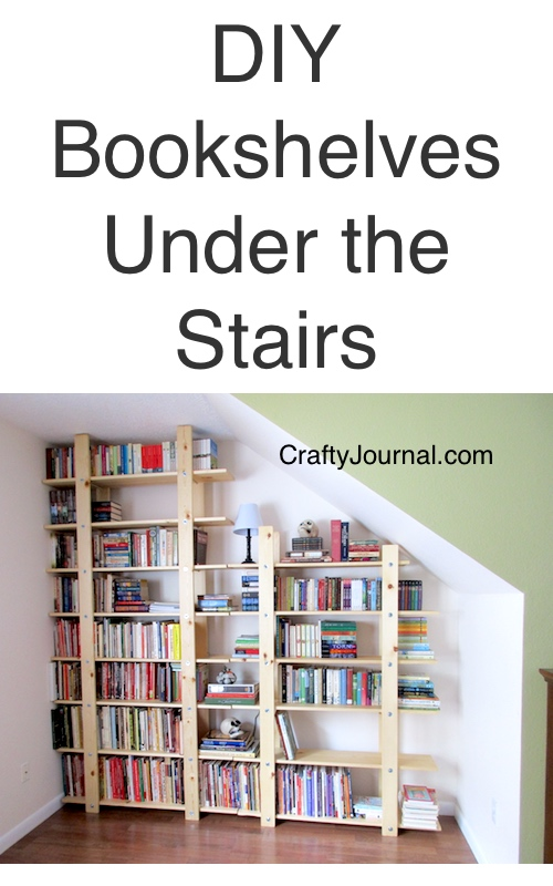 Easy To Build DIY Bookshelves For Under The Stairs.