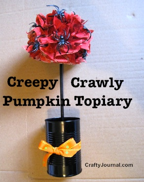 Creepy Crawly Pumpkin Topiary by Crafty Journal