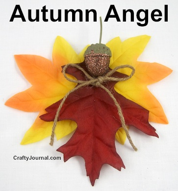 Create a beautiful Autumn Angel with silk or real leaves.