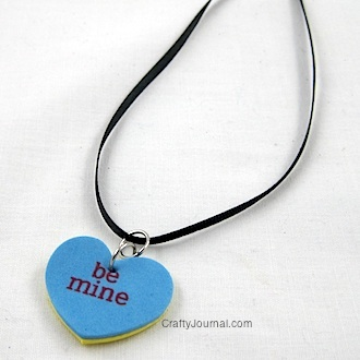 Conversation Heart Necklace by Crafty Journal