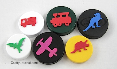 Crafty Journal - Plastic Lid Stamps
