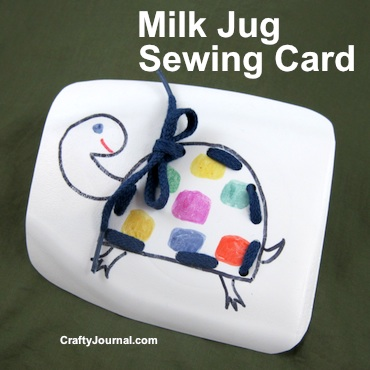Milk Jug Sewing Card by Crafty Journal