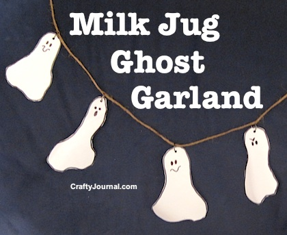 Recycle milk jugs into this fun Ghost Garland by Crafty Journal.