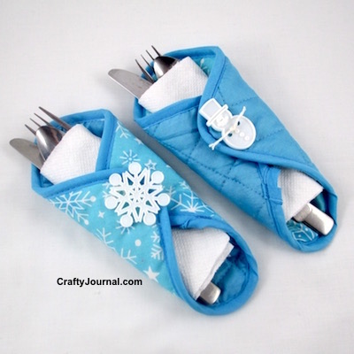 Snowflake Silverware Holder by Crafty Journal