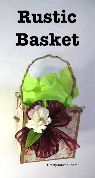 Rustic Basket Basket from recycled cardboard by Crafty Journal.